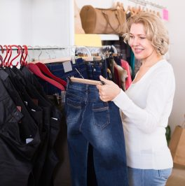 woman buying jeans