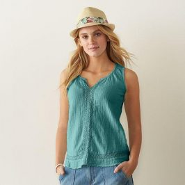 Casual soft teal tank with capris