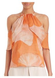 Orange Open Shoulder Top