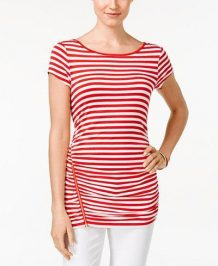 Red-White Striped Top